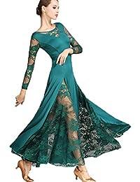 Vestidos Práctica de la Danza de Salón de Baile para Mujeres Encaje Vals  Traje de Danza Social Moderna Tango Flamenco Falda de… 4780ffd3616