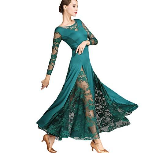 (Schnüren Ärmel Walzer Tanzkleider für Frauen Leistung Modernes Tanzkleid Nationales Standardkleid Cha Cha Röcke Ballsaal Rock, L)