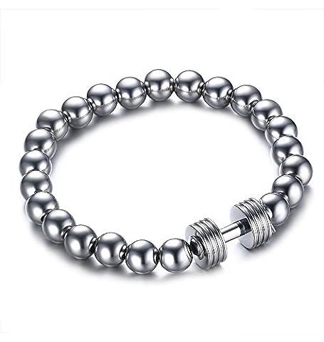 Revesteel Bijoux pour homme 8mm Perles en acier inoxydable Barbell stretch Bracelet, Argenté