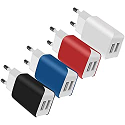 SCHITEC Chargeur USB 2 Ports, 4 Pack 5V / 2.1A Chargeur Secteur USB Adaptateur Chargeur Mural USB Universel Compatible avec iPhone XS/XR, Huawei P30 P20, Samsung Galaxy Note S9 Tablette et Plus