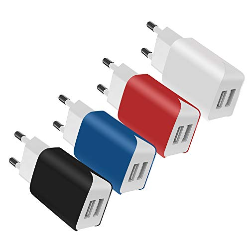 SCHITEC 2 Port USB Ladegerät, 4er-Pack 5V / 2.1A USB Ladeadapter/Netzteil, Bunter tragbarer USB-Portadapter Reise Wall Charger für das iPhone X 8,Samsung Galaxy Note 8, S9, S8, iPad,Tablet und mehr Apple Wall Charger