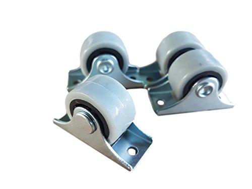 Siso A/S Mini-Lenkrollen im Set, schwenkbar, 25-mm-Kunststoff-Gummirollen mit Metallplatte, für...