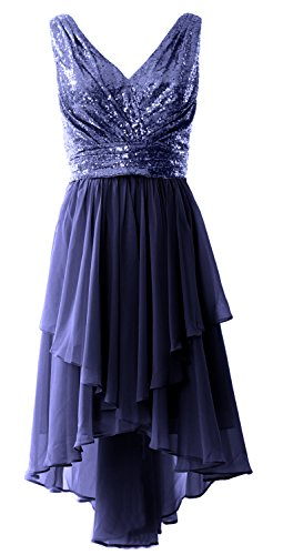 MACloth Women Straps V Neck Sequin Chiffon High Low Prom Dress Formal Party Gown Dark Navy