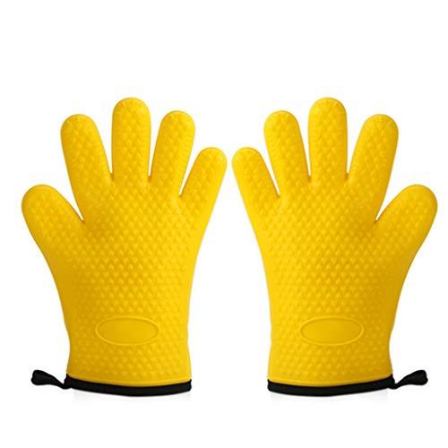 Jsmily Silikon isolierte Handschuhe verdickt rutschfest Hochtemperaturbeständig Backen Anti-Hot-Handschuhe Küche Schutzhandschuhe 7 * 18.7CM Multi-Color optional (Color : Yellow)