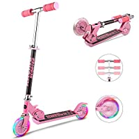 WeSkate Scooter for Kids with LED Light Up Wheels, Adjustable Height Kick Scooters for Boys and Girls, Rear Fender Brake, 5lb Lightweight Folding Light Up Kids Scooter, 110lb Weight Capacity