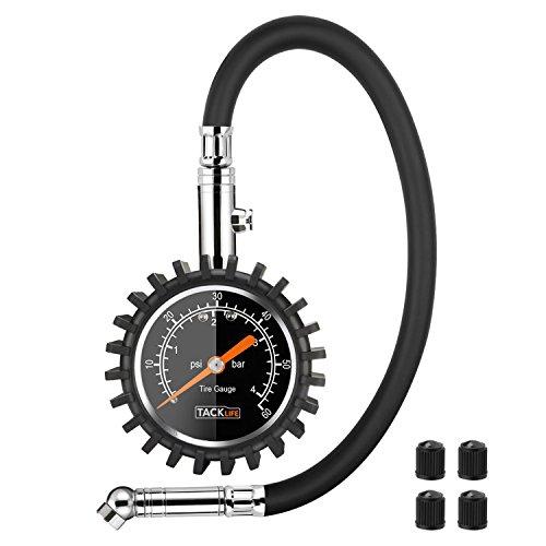 Tacklife-TPS02L-Medidor de Presión Neumáticos, Manómetro Presión Ruedas, Medición Rápida y Precisa para medidores de presión de neumáticos de automóviles, motocicletas, bicicletas, SUV, RV o ATV etc. 4 bares / 0-400 Kpa