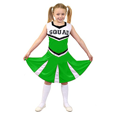 I love Fancy Dress ilfd7096s Kinder Cheerleader Fancy Kleid Kostüm mit Squad Print und Faltenrock (klein) (Cheerleader-grün)