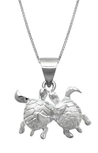 Sterling Silber Schildkröte Couple Anhänger mit 18Box Kette Halskette von Honolulu Jewelry Company