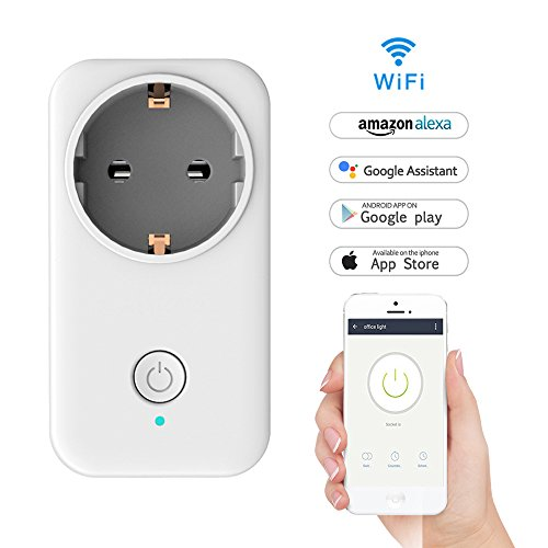 WiFi Smart Steckdose, LADUO WLAN Smart Socket Outlet funktioniert mit Amazon Alexa und Google Home, Timing-Funktion, Fernbedienung Ihre Ger?te überall, kein Hub erforderlich (Steckdose-1PCS)
