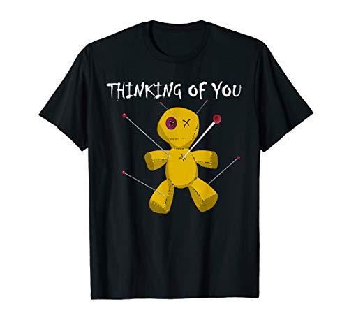 Lustige Voodoo-Puppe wirklich gruselig Besen Hut Horror T-Shirt (Besen-puppe)