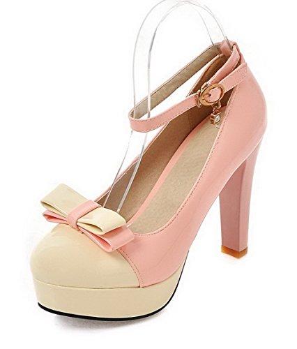 VogueZone009 Femme Pu Cuir à Talon Haut Rond Couleurs Mélangées Boucle Chaussures Légeres Rose