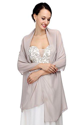 MicBridal® Chiffon Bolero Braut Jacke/Stola/Cape für Brautkleid Hochzeit in verschiedenen Farben (200*60cm, Grau)