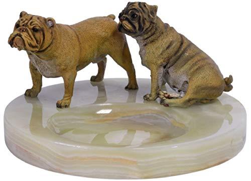 Casa-Padrino cenicero de Lujo con Figuras de Bronce Ø 19,9 x H. 10,7 cm - Cenicero de Piedra Natural de ónix con 2 Perros de Bronce Decorativos