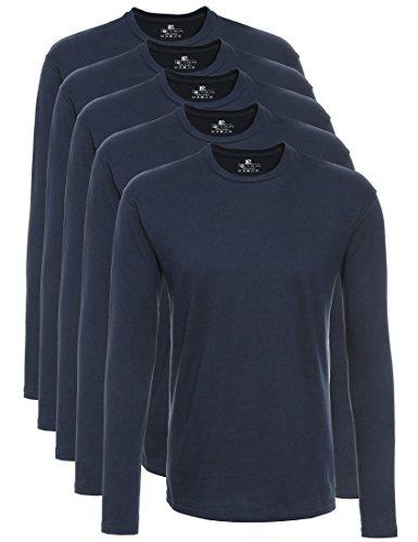 Lower East 5er Pack Herren Langarmshirt mit Rundhals-Ausschnitt, in Verschiedenen Farben 5er Pack, Dunkelblau, Large