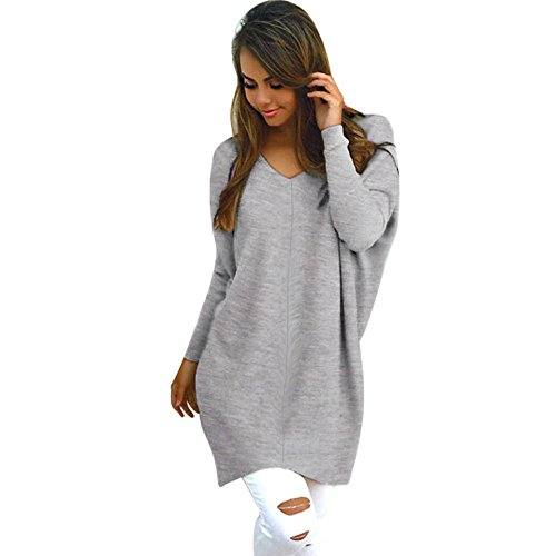 Damen Strickpullover MYMYG Pullover Casual Langarm Sweatshirt V-Ausschnitt Sweater Pulli Strick Oversize Knitwear Bluse (Grau,EU:36/CN-M)