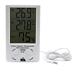 Digital Indoor/Outdoor Thermometer with Hygrometer LCD Display -PIA INTERNATIONAL