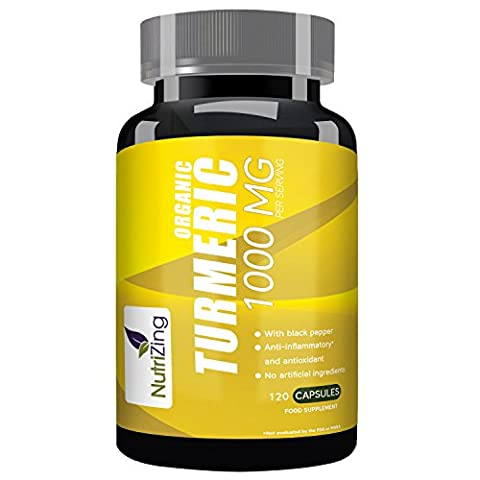 NutriZing's Organic Turmeric Supplement ~ 120 Fast Acting Capsules ~ Natural Curcumin Extract ~ Works Best To Reduce Inflammation and Relieve Joint Pain ~ Contains Organic Black Pepper To Boost Absorption & Increase Bioavailability ~ Superfood Rich In Anti-oxidants ~ For Vegetarians and Vegans ~ High Potency 1000mg ~SOIL ASSOCIATION Certified ~ Soy & Gluten Free ~ For Men & Women