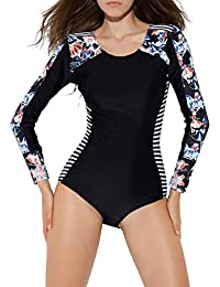 Monokini Costumi da Bagno Push Up Bikini Costume Intero Donna Manica Lunga  Surf con Zip e Coppe Coordinati Sportivi Abbigliamento Body Floreale… 1360f6adcc2