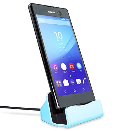 MyGadget Micro USB Docking Station para teléfono Android con Cable 1m y Soporte - Estación Base de Carga para ej. Samsung Galaxy S7, S6, HTC - Azul