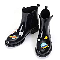 ANTBTS Ladies Rain Boots,Black Cartoon Rabbit Pattern Short Ladies Waterproof Non-Slip Black Rubber Shoes Cute Simple Rain Boots Soft Comfortable Women Shoe Lightweight Breathable