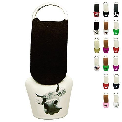 ebos Kuhglocke ✓ mit Filzriemen ✓ Größe 3 ✓ Schlüsselanhänger | fob key | Schelle | (Weiß mit Kuh | Bild) -