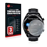 Savvies Panzerglas kompatibel mit Huawei Watch GT/GT Active [3er Pack] - Echtglas Schutzfolie 9H