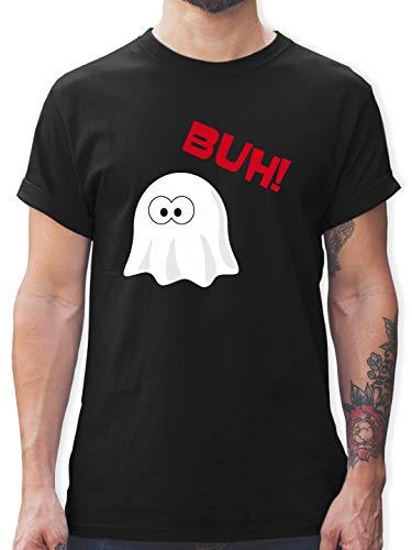 Halloween - Kleiner Geist Buh süß - M - Schwarz - L190 - Herren T-Shirt und Männer Tshirt