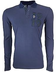 Image of 1919 Adidas-Polo da uomo, maniche lunghe, blu fr XXXL, taglia: XXXL