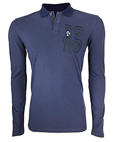 adidas 1919 Polo manches longues Homme Bleu FR : L (Taille Fabricant : L)
