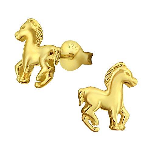Silber Baby-mädchen (Laimons Kids Kinder-Ohrstecker Kinderschmuck Pferd Pony Fohlen glanz Sterling Silber 925)