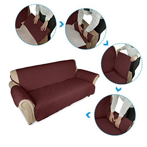 KINLO® Sofahusse 3 Sitzer 167×165 Weinrot Sofa überwurf 100% Baumwolle Füllung - 6