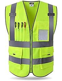 Chaleco de seguridad con tiras reflectantes, protección de la seguridad de la construcción chaleco de