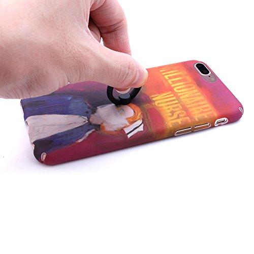 iProtect Hardcase mit Ring Halter Marmor Design Schutzhülle in Schwarz mit Fingerhalterung für Apple iPhone 7 Plus Nurse