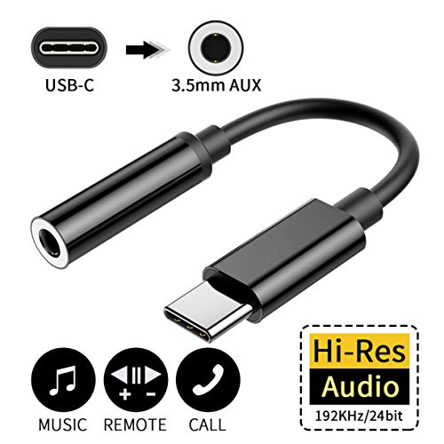 IMBCYL Adaptateur USB C Jack 3,5mm USB Type C 3,5mm Aux Cable de Prise Voiture Home stéréo écouteurs DAC Chipset Compatible avec iPad Pro,Huawei Mate 10 Pro/P20/P20 Pro/P30 Pro, Xiaomi,Samsung (Noir)