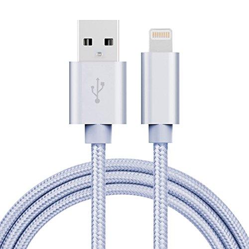 Fone-Stuff Lightning 8-Pin-USB-Ladekabel, 3a gewebt Stil Metallkopf für Mobiltelefone 1m - Silber
