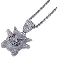 """BANAMANA Charm Jewelry Hip Hop Iced Out Pokemon Necklace Rhinestone Crystal Necklace Diamond Necklace with 24"""" Stainless Rope Chain for Unisex"""