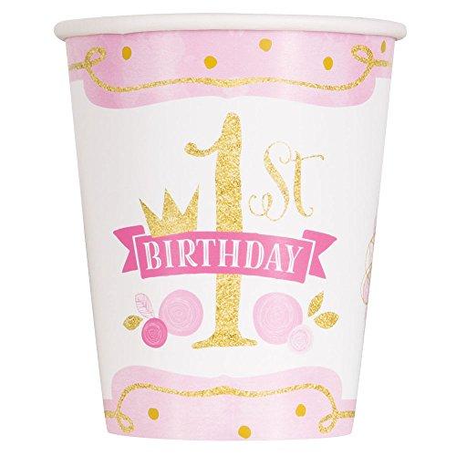 Unique Party – 58156 – Gobelets en Carton – 266 ml – 1ère Fête d'Anniversaire à thème Rose et Or – Paquet de 8