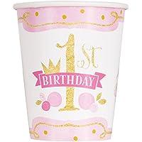 Unique Party - 58156 - Gobelets en Carton - 266 ml - 1ère Fête d'Anniversaire à thème Rose et Or - Paquet de 8