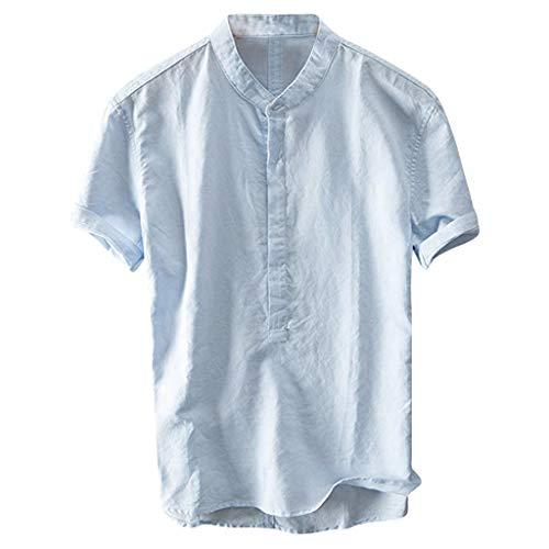 Button Up Shirt Jeans (SSUDADY Baumwolle Leinen T-Shirt Herren Männer Sommer Strand Kurzarm T-Shirt mit Rundhals-Ausschnitt Frosch Button-Up Basic Tees Fashion Einfaches T-Shirt Sweatshirts Tops Für Männer M-3XL)