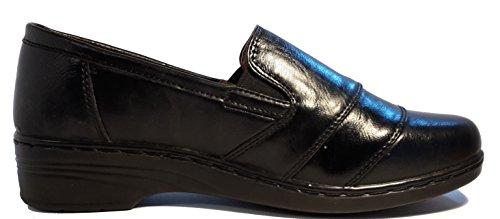 Schlicht-elegante Halbschuhe in Lederoptik, schwarz, dunkelblau, braun oder weiß, Schnürschuhe, Mokassins, Ballarinas, Damenschuhe, Modell 11094108001025, Schuh für Damen in topmodischem Look. Schwarze Slippers.