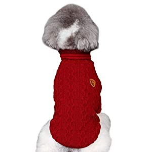 Puseky Pull col roulé Chien Chiot Hiver Tricot vêtements Chauds pour Chiens et Chats