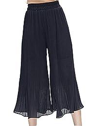 HX fashion Mujer Pantalon Verano Elegantes Elastische Taille Color Sólido  Pantalones Anchos Anchos Casuales Aireado Cómodo c38180e360a2