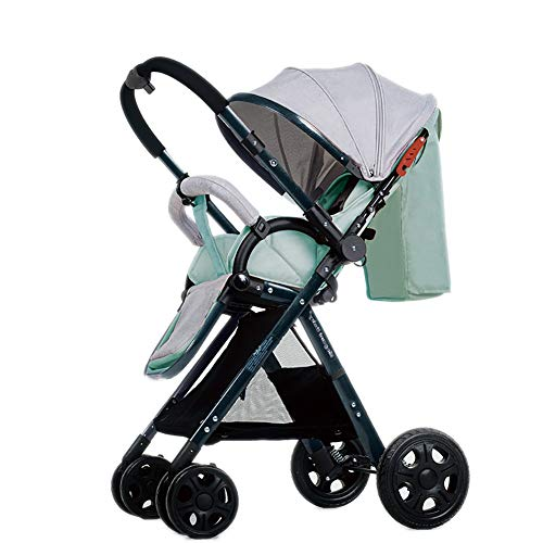 Yhz@ High Landscape Baby Stroller Handle Reversible Infants Buggy se Puede sentar y tumbarse DownUltralight Portable Foldable Child Cart Sillas de Paseo (Color : Mint Green (1))