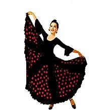 Falda mujer color negro con lunares rojos de flamenco