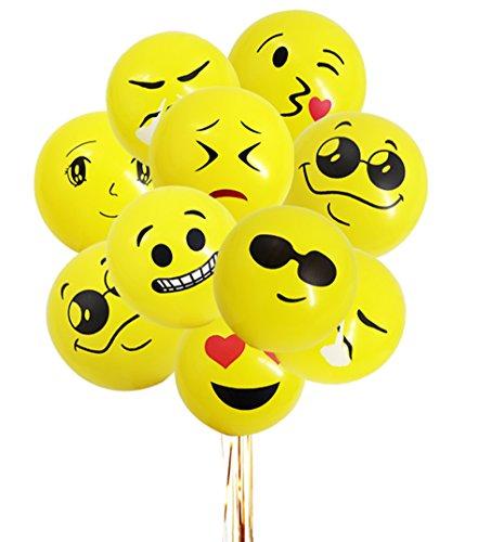 Mattelsen Globos Emoji, Emoticonos globo Lunares Balloons Decoraciones Fiesta Cumpleaños Boda Globos de Látex 12 piezas
