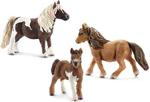 schleich-kt-20228-famiglia-shetland-pony-13750-13751-13752-3teilig