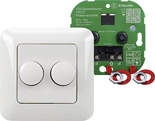 Doppeldimmer 4260x0701 T42.07.1 / Unterputz-Komplettdimmer für Phasenanschnitt , für dimmbare LED-Lampen, Glühlampen, HV-Halogen-Leuchten / Leistung 2 x 15 - 110 W/VA (bei LED 2 x 5-40 W) - Halogen-dimmer-schalter