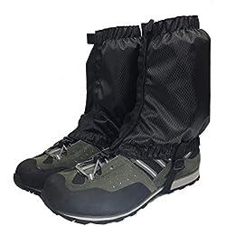Aesy Legging Polainas, Cubierta Protectora Duradera Impermeable para la Pierna Ligera Nieve Polainas, para Ciclismo al Aire Libre Senderismo Montaña Trekking Esquí Escalada Caza (Negro)