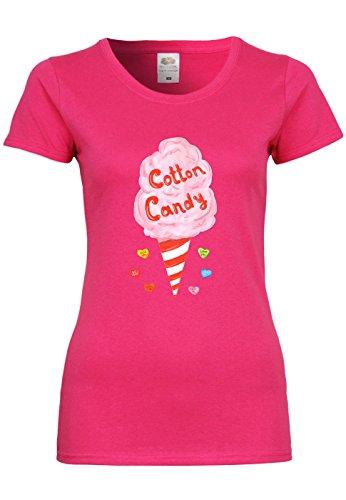METRA UL154 F288N Damen T-Shirt mit Motiv Cotton Candy, Größe:M, Farbe:Fuchsia (Cotton Candy Fuchsia)