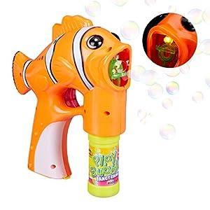 Relaxdays- Pistola Pompas Pez para Niños con LED, Plástico, Naranja, 18,5 x 7 x 18 cm, Color (10024931)